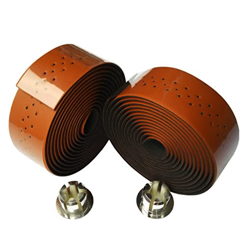 Bicycle Handlebar Tape - KINGOU Brown Synthetic Leather Road Bike Handlebar Tape Bicycle Bar Wraps - 2PCS Per Set