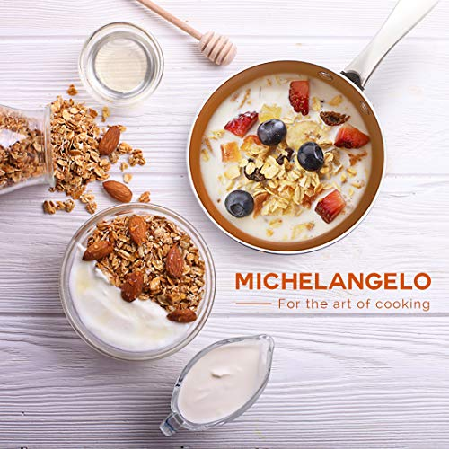 MICHELANGELO 3 Quart Saucepan with Lid, Ultra Nonstick Coppper Sauce Pan with Lid, Small Pot with Lid, Ceramic Nonstick Saucepan 3 quart, Small Sauce Pot, Copper Pot 3 Qt, Ceramic Sauce Pan 3 Quart