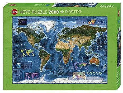 Amazon Com Heye 29797 Satellite Map Puzzle 2000 Piece Toys Games