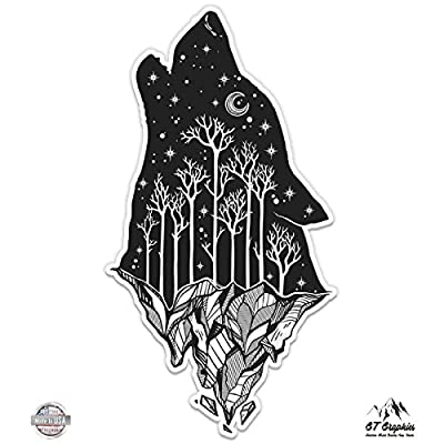 GT Graphics Wolf Howling Moon Celestial Mountains - Vinyl Sticker Waterproof Decal: Clothing
