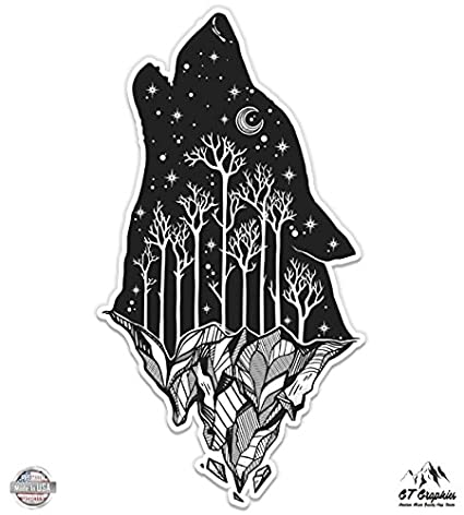 Amazon Com Wolf Howling Moon Celestial Mountains Vinyl Sticker