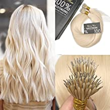 """Sunny 16"""" 50 Strands Micro Nano Rings Brazilian Human Hair Extensions Color #60 Bleach Blonde Silky Straight Nano Tip Thick End Hair Extensions 1g/s 50g Weight"""