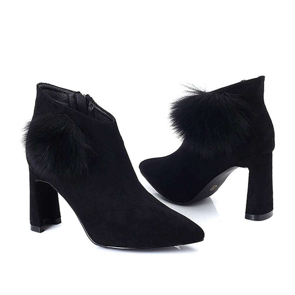 Frau Kurz Stiefel Hoch Fersen Leder Knöchel Reißverschluss Dicker Plüsch Warm Knöchel Leder Schuhe schwarz 0b42c1