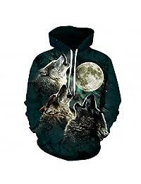 Wolf Pritned Men Women Hoodies 3D Hooded Sweatshirts Autumn Spring Pullover
