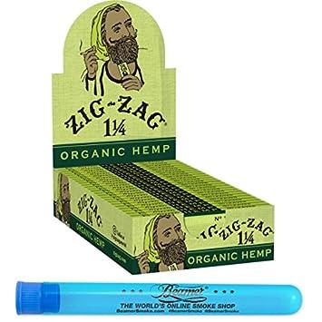 24 Pack Display Zig Zag 1 1/4 Size Organic Hemp Rolling Paper + Beamer  Smoke Sticker + Small Beamer