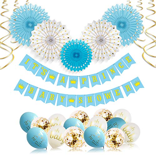 Its A Prince Baby Shower Decorations for Boy - 55 Piece Boys Baby Shower Decoration Blue/White/Gold/Rose Gold - Boy Baby Shower Banner, Balloons, Prince Theme - Its a Boy Decorations by Xonara