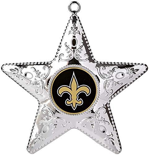 NFL New Orleans Saints Silver Star Ornament, Small, Silver - New Orleans Saints Christmas Ornaments