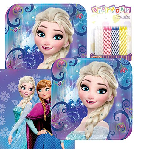 Frozen Party Plates and Napkins Serves 16 With Birthday Candles -