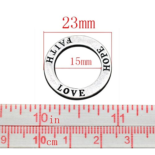 FAITH HOPE LOVE 20 Pc Circle Washer Charm Connector Affirmation Ring Jewelry