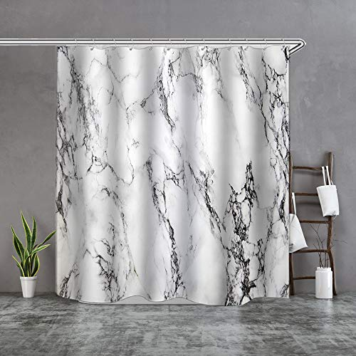 (Shower Curtain Set with Hooks Soap Mildew Resistant Waterproof Marble Pattern Natural Stone Color Cracked Line Bathroom Decor Machine Washable Antibacteria Polyester Fabric Bath Curtain 71 x 71)