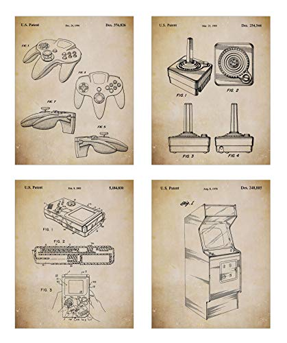 Game Room Décor – Original Classic Video Games Patent Art Prints - Set of Four Video Gaming Posters (8x10) Unframed – Great Retro Game Room Wall Decor