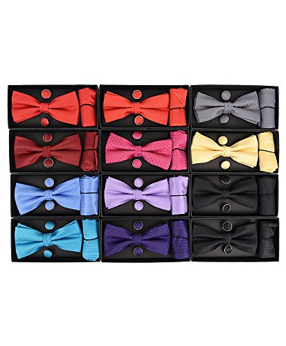 Umo Lorenzo 12pc Pack Assorted Bow Tie with Matching Hanky and Cufflinks Set by Umo Lorenzo (Image #2)