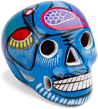 Calavera Mexicana Decorativa de cer/ámica Grande Azul Oscuro FANMEX Fantastik