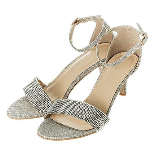 Womens Ladies Low Kitten Heel Ankle Strap Diamante Sandal Shimmering Fabric Beige UYvdPafM