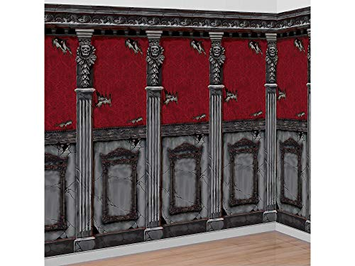 (AMSCAN Gotham Mansion Room Rolls Halloween Decorations, For Indoor and Outdoor Use, 4' H x 20')