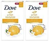 Dove Go Fresh Revitalize Beauty Bar, Mandarin and Tiare Flower, 4 Ounce, 6 Bar (Pack of 2) 12 Bars Total For Sale