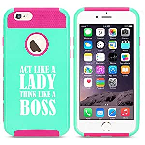 Apple iPhone 5c Shockproof Impact Hard Case Cover Act Like A Lady Think Like A Boss (Light Blue-Hot Pink)