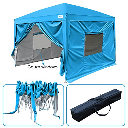 Quictent 2018 Upgraded Privacy 10x10 EZ Pop Up Canopy Party Tent Folding Gazebo with Mesh Windows and Sidewalls 100% Waterproof (Light Blue)