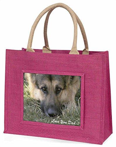 Advanta dad-34blp Deutscher Schäferhund, Love You Dad Große Einkaufstasche Weihnachten Geschenk Idee, Jute, Rosa, 42x 34,5x 2cm