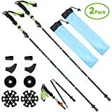 SeoJack Anti Shock Hiking/Walking/Trekking Trail Poles Tungsten Carbide Tip Quick Lock System,Collapsible Ultralight Adjustable Stick Traveling Camping Hiking Mountaineering-2 pack