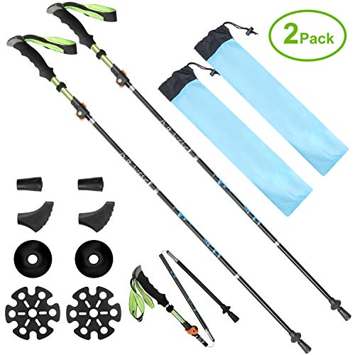 SeoJack Anti Shock Hiking/Walking/Trekking Trail Poles Tungsten Carbide Tip Quick Lock System,Collapsible Ultralight Adjustable Stick Traveling Camping Hiking Mountaineering-2 pack by SeoJack
