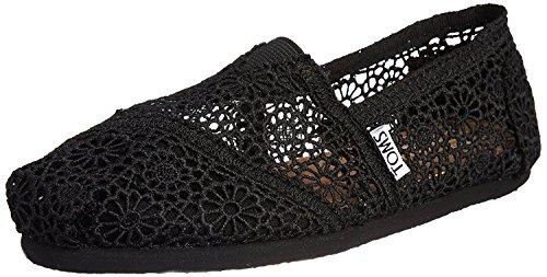 TOMS Womens Classic Slip-On (5.5 B(M) US/36 EUR, Black Moroccan Crochet)