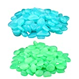 oldeagle 200Pcs Unique Glow in Dark Pebbles Stone Home Garden Walkway Aquarium Fish Tank Decorative Green And Blue