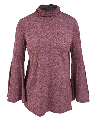 YeeATZ Women's Burgundy Flared Bell Sleeve Knit Blouse
