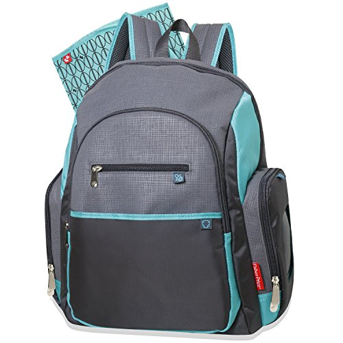 Fisher Price Backpack Diaper Bag - Fastfinder Colorblock in Grey/Teal