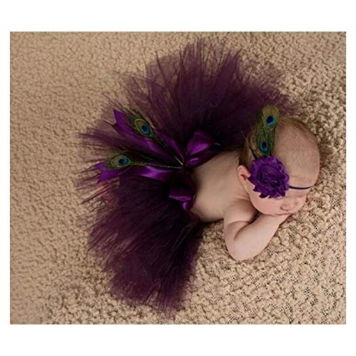 FidgetGear Baby Girl Peacock Feathers Headband tutu Dress Costume Photo Prop Outfit purple ()