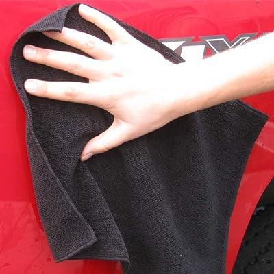 Heininger 4 Pack GarageMate Ultra Absorbent Microfiber Cleaning Cloths Black: Automotive