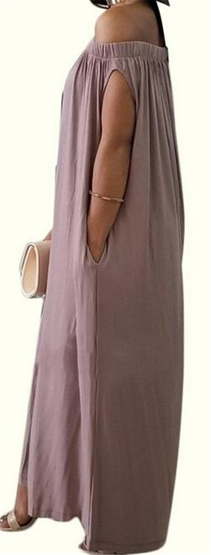 XTX Womens Off Shoulder Relaxed-Fit Casual Pleated Wide Leg Pants Culottes Jumpsuits Coffee Large by XiaoTianXin-women clothes (Image #2)