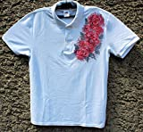 HOT SALE/White Polo T-shirt with Red Roses/Hand Painted Polo T-shirt/Painted Women's Polo/Roses Flower Polo T-shirt/Beach Shirt/Gift Idea/Shirt Polo''Fruit of the Loom''/size M 65/30.