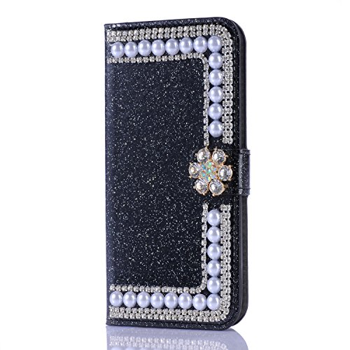 Glitter Wallet Case for Samsung Galaxy S8,Gostyle Bling Diamond 3D Pearl Flip Leather Case with Card Holder,Crystal Rhinestone Flower Magnetic Clasp Stand Cover-Pearl ()