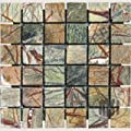 Green Rain Forest Tumbled Marble in 2x2 Mosaic Tiles by Marble 'n things