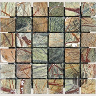 green rain forest tumbled marble in 2x2 mosaic tiles