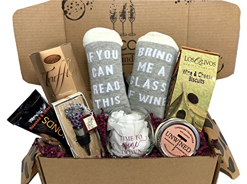 Wine Lovers Perfect Gift Basket Box with Bring Me Some Wine Socks and more by Hey, Its Your Day Gift Box Co