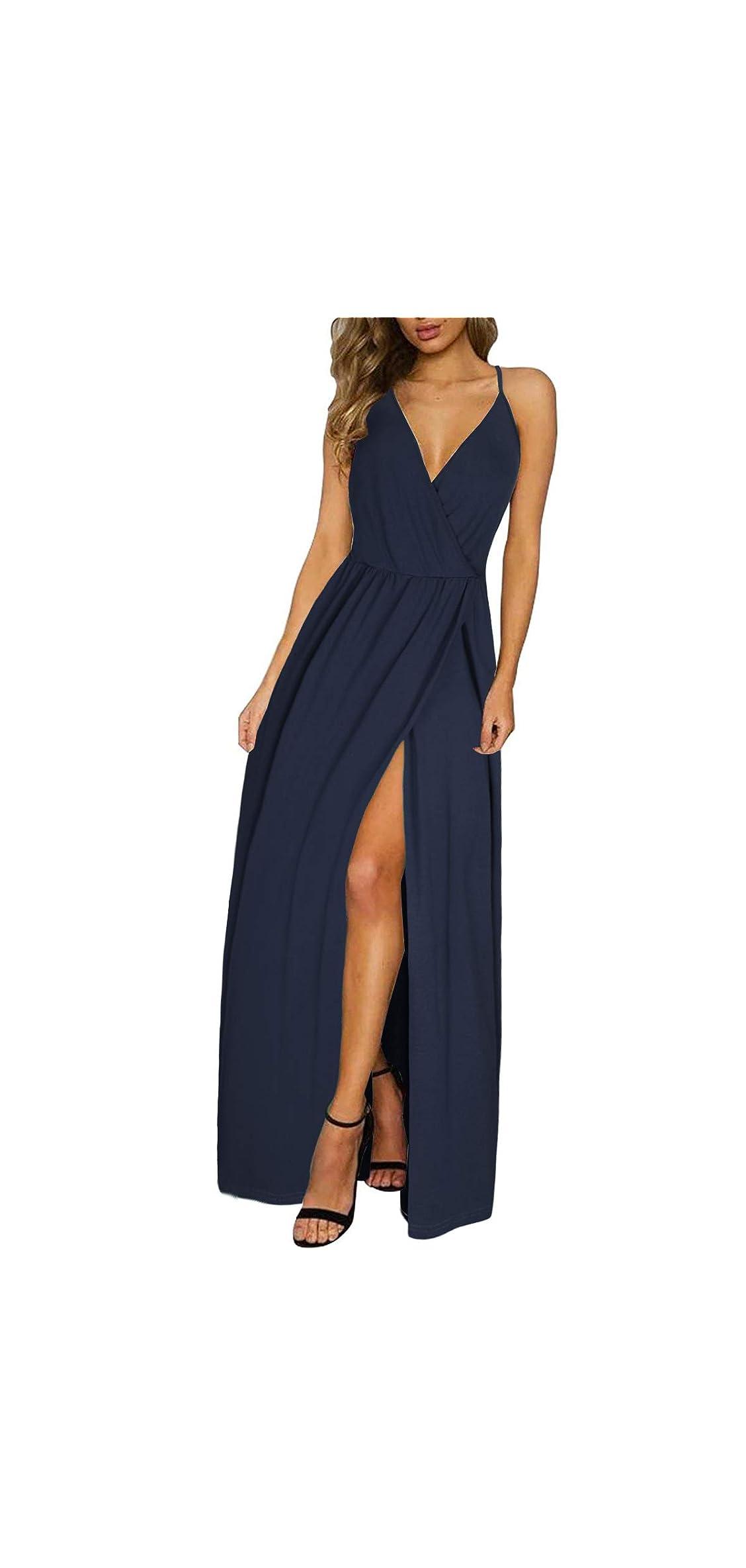 Women's Deep V-neck Casual Dress Summer Backless Floral