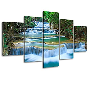 Waterfall Canvas Wall Art Decor for Living Room, SZ 5 Piece Calming Falls Picture Prints of Relaxing Pond in Tropical Forest (Bracket Mounted, 1  Thick Premium Frame, Waterproof Artwork, Large)