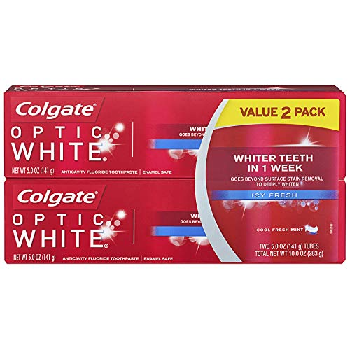 Colgate Optic White Whitening Toothpaste, Icy Fresh - 5.0 Ounce (2 Pack)