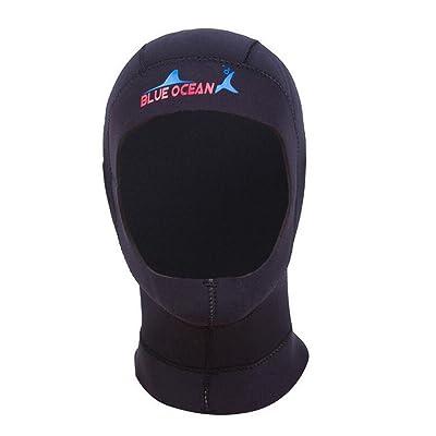 Yeshi néoprène 3mm capuchon de plongée avec tuba équipement de natation Chapeau Tête cou protection Taille L (Noir)