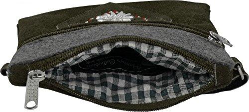 Harrys-Collection Umhänge Trachtentasche Leder Velour mit Applikation Herz Stickerei und Edelweiß, Farben:rot oliv