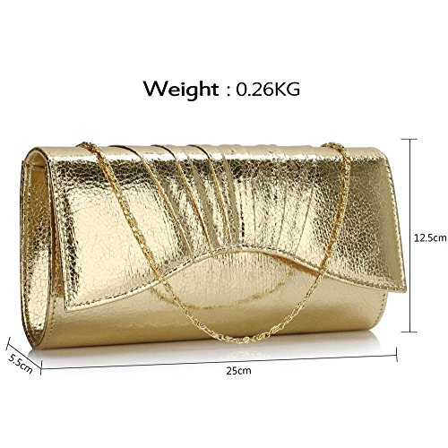 TrendStar - Cartera de mano para mujer Amarillo - Gold Metallic Clutch