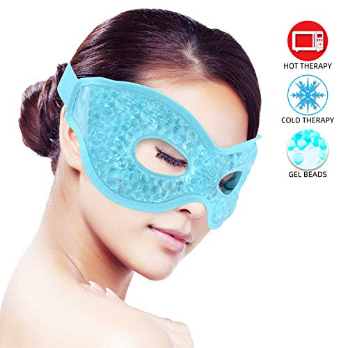 - Ice Eye Mask for Woman Man Sleeping, Reusable Ice Mask Hot/Cold Pack Therapy for Puffy Eyes,Dark Circles,Dry Eyes,Relaxing Sleep,Migraines, Headaches,Stress Relief [Blue]