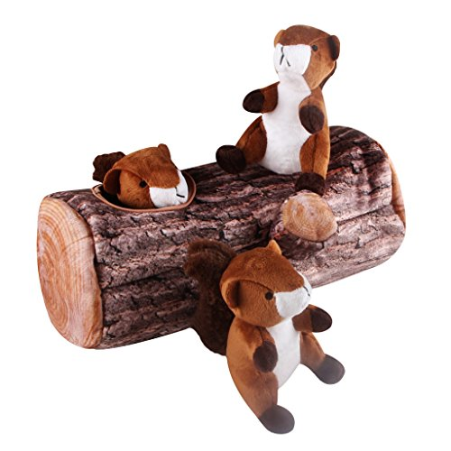 (IFOYO Squeak Dog Toys, Large Durable Squirrel Hide and Seek Puzzle Plush Interactive Dog Toys for Medium/Small Dogs, Pets, Halloween Christmas Dog Toy)