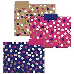 Navy Dot File Folder Set