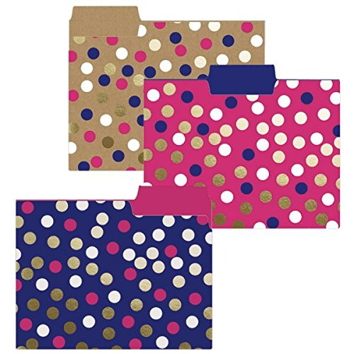 Graphique Navy Dot File Folders Set Includes 9 Folders and 3 Unique Dot Designs, Durable Triple-Scored Coated Cardstock, 11.75