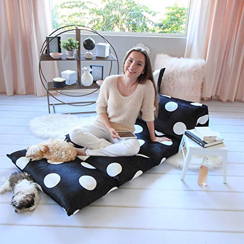 Butterfly Craze Floor Lounger Cover – Inflatable Air Bed, Floor Mattress or Bean Bag Chair Alternative. Black and White Polka Dot Pattern Makes it Fun and Stylish. Pillow Bed Cover Only!