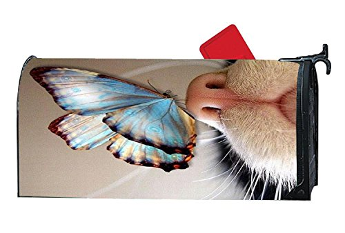 Personalized Magnetic Mailbox Cover Butterfly On Cat's Nose,