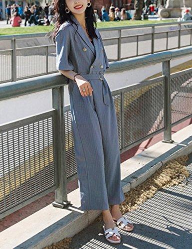 Quzi Nouvelle Robe Automne Col Tailleur Rayé Robe Salopette Bleu Confortable Qz046